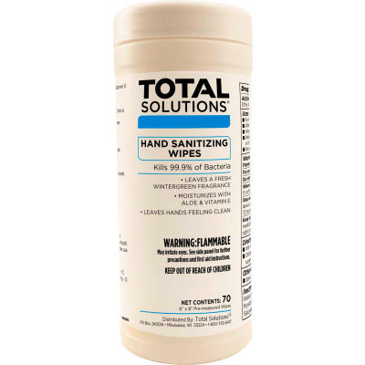 "Total Solutions Hand Sanitizer Wipes - 6""X8"" Wipes, 70 Wipes/Canister, 6 Canisters/Case"
