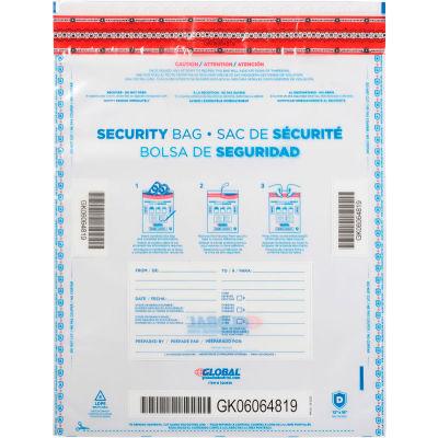 "Global Industrial™ FraudStopper™ Tamper Evident Clear Deposit Bag, 12""W x 16""H, 100/Pack"