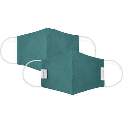 Reusable Youth Cloth Face Mask, Washable, 3-Layer Contour, Teal, 10/Bag