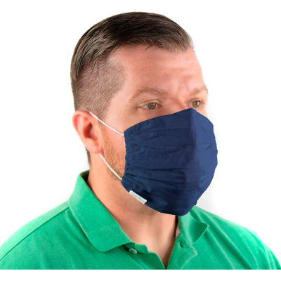 Reusable Cloth Face Mask, Washable, 2-Layer Gathered Edge, Patriot Blue, 10/Bag