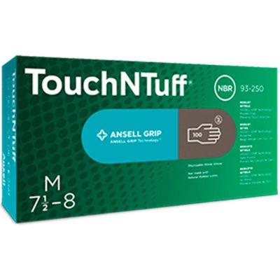 Ansell TouchNTuff 93-250 Nitrile Powder Free Disposable Glove, 5 Mil, Dark Grey, M, 100/Box