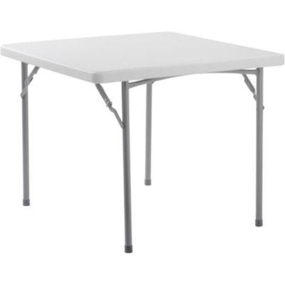 "Interion® Plastic Folding Table, 36"" x 36"", White"