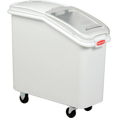 Rubbermaid® 3600-88 2.8 Cu. Ft Plastic Bin Truck with Clear Lid & Scoop