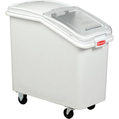 Rubbermaid® 3602-88 3.5 Cu Ft Plastic Bin Truck with Clear Lid & Scoop