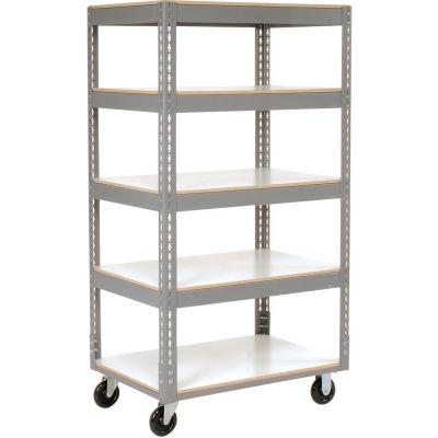 Global Industrial™ Easy Adjust Boltless 5 Shelf Truck 36x18, Laminate Shelves, Poly Casters