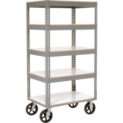 Global Industrial™ Easy Adjust Boltless 5 Shelf Truck 36x18 W/ Laminate Shelves, Rubber Casters
