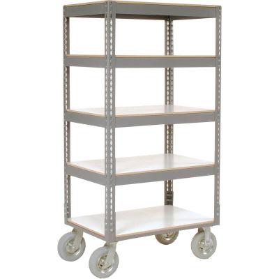 Global Industrial™ Easy Adj. Boltless 5 Shelf Truck 36x18, Laminate Shelves, Pneumatic Casters