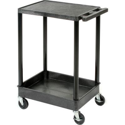 "Luxor® TC21 Flat Top Shelf 2 Shelf Plastic Cart 32x24 4"" Casters 400 Lb."