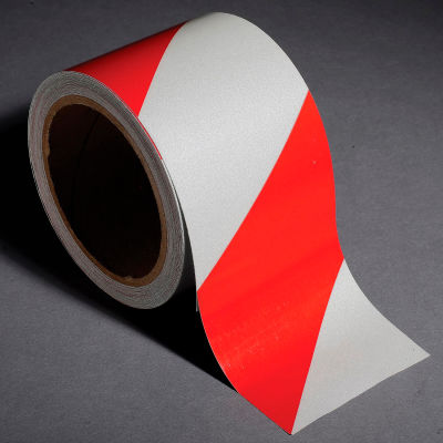 "INCOM® Safety Tape Reflective Striped Red/White, 3""W x 30'L, 1 Roll"