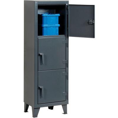 "StrongHold® Triple Tier 3 Door Welded Personnel Locker, 22""Wx18""Dx68""H, Gray, Assembled"