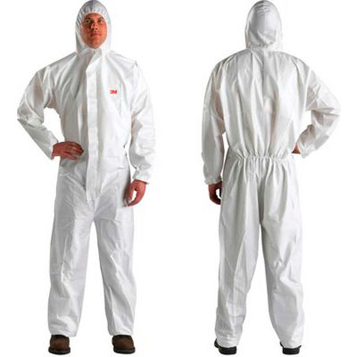 3M™ Disposable Coverall, Elastic Wrists & Ankles, Hood, White, 4XL, 4510-BLK-4XL 25/Case