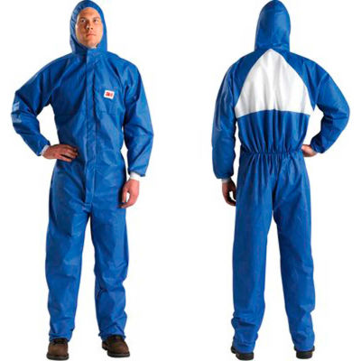 3M™ Disposable Coverall, Knit Cuffs, Attached Hood, Blue, 4X-Large, 4530-BLK-4XL, 25/Case