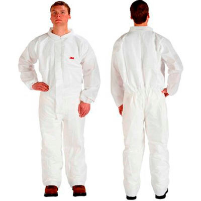 3M™ Disposable Coverall, Elastic Wrists & Ankles, White, XL, 4510CS-BLK-XL, 25/Case
