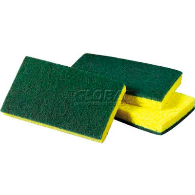 3M Scotch-Brite™ Medium Duty Scrubbing Sponge, Yellow/Green, 20 Sponges - 74