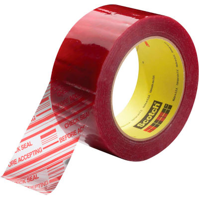 """3M™ 3779 Security Message Carton Sealing Tape 2"""" x 110 Yds. 1.9 Mil Clear/Red - Pkg Qty 36"""