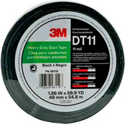 """3M™ Heavy Duty Duct Tape DT11 Black, 1-7/8"""" x 180', 11 Mil - Pkg Qty 24"""