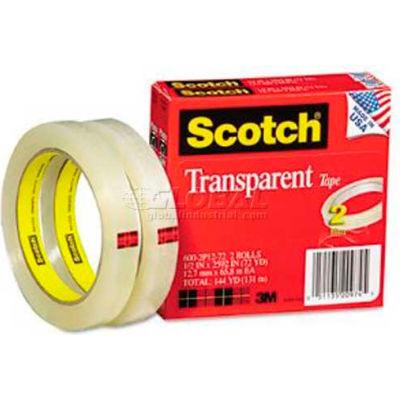 "Scotch® Transparent Tape 600-2P12-72, 1/2"" x 2592"", 2 Rolls/PK"