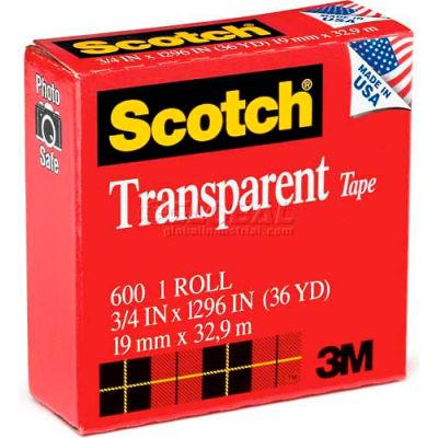 "Scotch® Transparent Tape 600, 3/4"" x 1296"", Boxed, 1"" Core, 1 Roll"