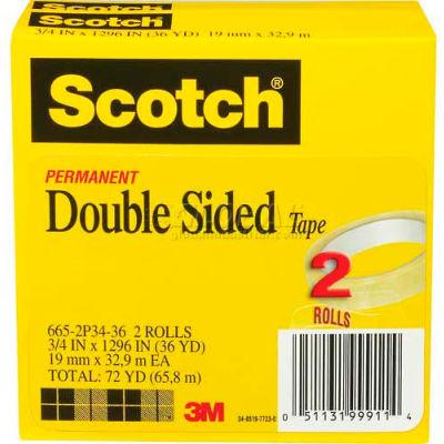 "Scotch® Double Sided Tape 665-2P34-36, 3/4"" x 1296"", 3"" Core, 2 Rolls/PK"
