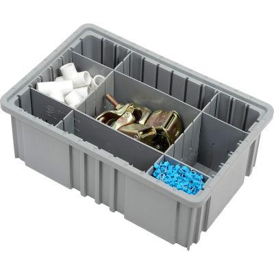 "Global Industrial™ Plastic Dividable Grid Container - DG92060,16-1/2""L x 10-7/8""W x 6""H, Gray - Pkg Qty 8"