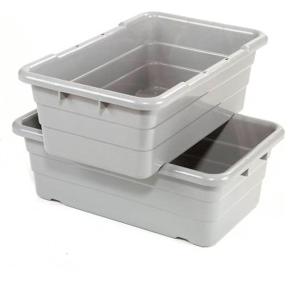 Global Industrial™ Cross Stack Nest Tote Tub -  25-1/8 x 16 x 8-1/2 Gray - Pkg Qty 6
