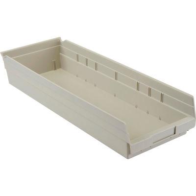 "Global Industrial™ Plastic Nesting Storage Shelf Bin 8-3/8""W x 23-5/8""D x 4""H Beige - Pkg Qty 6"