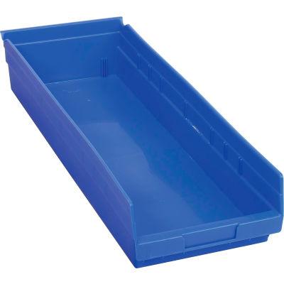 "Global Industrial™ Plastic Nesting Storage Shelf Bin 8-3/8""W x 23-5/8""D x 4""H Blue - Pkg Qty 6"