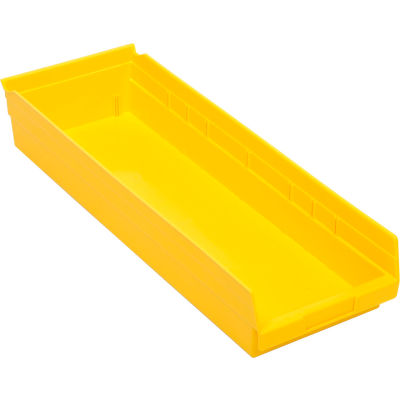 "Global Industrial™ Plastic Nesting Storage Shelf Bin 8-3/8""W x 23-5/8""D x 4""H Yellow - Pkg Qty 6"