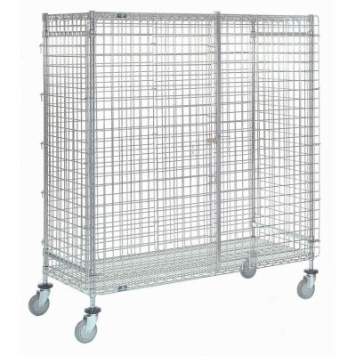 "Wire Shelf Security Truck, Poly-Z-Brite®, 24""W x 36""L x 69""H, Polyurethane, 4 Swivel Casters"