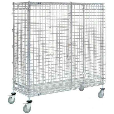 "Wire Shelf Security Truck, Chrome, 18""W x 48""L x 69""H, Polyurethane, 4 Swivel, 2 Brake Casters"