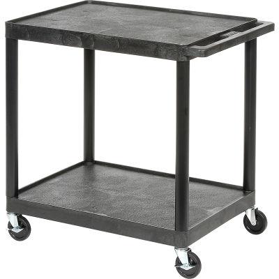 Luxor® HE32 Plastic Shelf Truck 24 x 18 x 33-1/2, 2 Shelves, Black