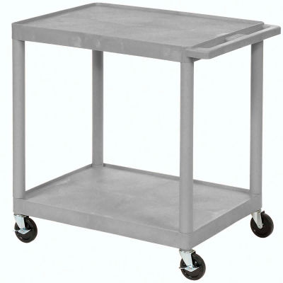 Luxor® HE38 Plastic Shelf Truck 32 x 24 x 34, 2 Shelves, Gray