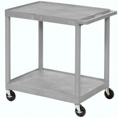 Luxor® HE32 Plastic Shelf Truck, 24 x 18 x 33-1/2,  2 Shelves, Gray