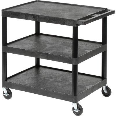 Luxor® HE33, Plastic Shelf Truck, 32 x 24 x 33-1/2, 3 Shelves, Black