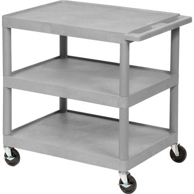 "Luxor® Plastic Utility Cart, 3 Shelf, 24""Lx18""Wx34""H, Gray"