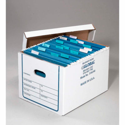 Corrugated Transfer File Record Storage Box With Lid 15-1/4x12-1/4x10-1/4, Price Each - Pkg Qty 20