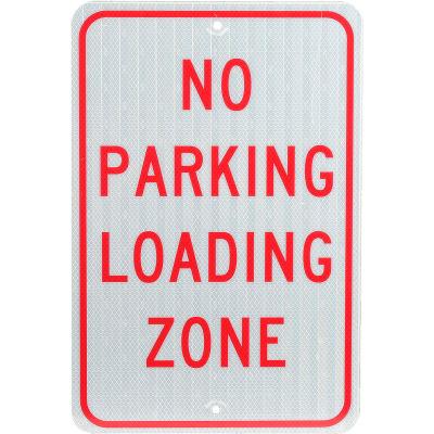 "Aluminum Sign - No Parking Loading Zone - .080"" Thick, TM14J"