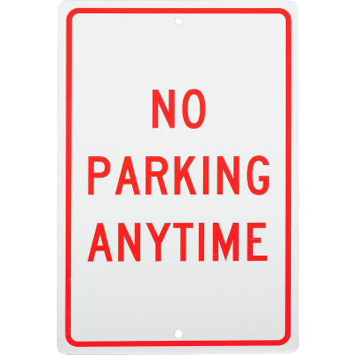 """Aluminum Sign - No Parking Anytime - .063"""" Thick, TM2H"""