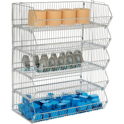 "Global Industrial™ Modular Wire Stacking Bin Basket Rack, 36""W x 20""D x 45""H, 5 Wire Bins"