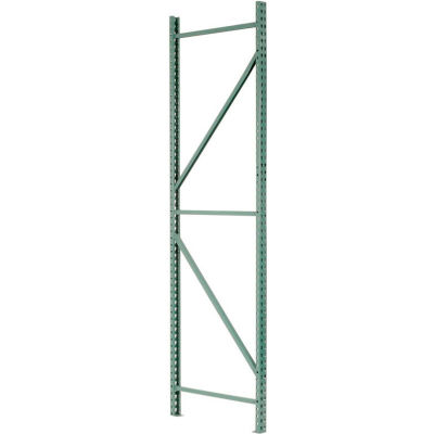 "Interlake Mecalux Pallet Rack Tear Drop, Welded, Upright Frame 36""D x 120""H, Green"