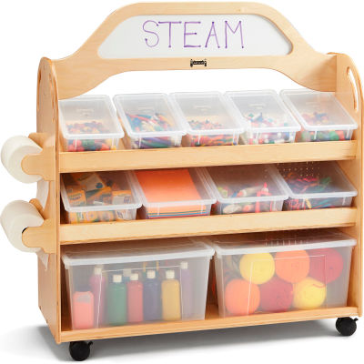 """Jonti-Craft® STEAM Wooden Multimedia Cart with Tubs and Lids - 46.5""""W x 20""""D x 51.5""""H"""