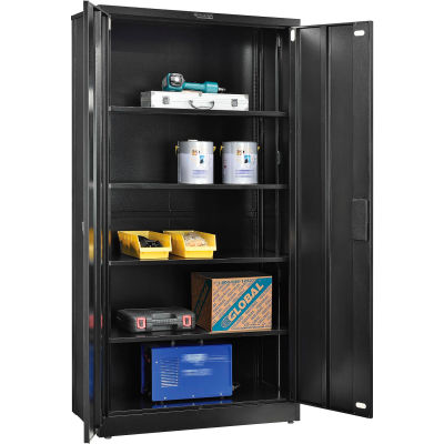 "Global Industrial™ EZ Assemble Steel Storage Cabinet 36""W x 18""D x 72""H Black"