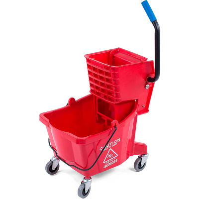 Carlisle Commercial Mop Bucket with Side-Press Wringer 26 Quart, Red - 3690805