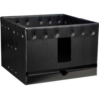 "Protektive Pak Plastek Vertical 13"" Reel Storage Container 37569 14""L x 14""W x 9-1/2""H - Black - Pkg Qty 5"