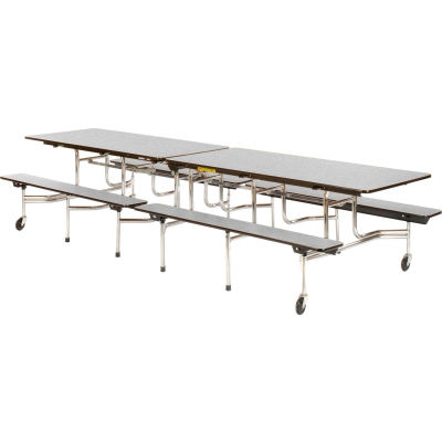 """Virco® Cafeteria Table with Benches - 144""""L - Gray Nebula Top"""