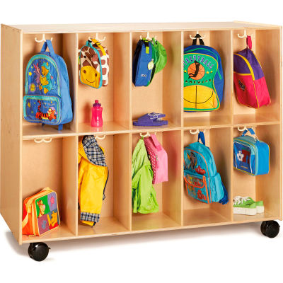 """Jonti-Craft® 20-Section Wooden Mobile Backpack Cubbie - 60""""W x 26.5""""D x 48.5""""H"""