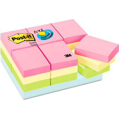 """Post-it® Notes Pastel Notes Value Pk 65324APVAD, 1-1/2"""" x 2"""", Pastel, 100 Sheets, 24/Pack"""