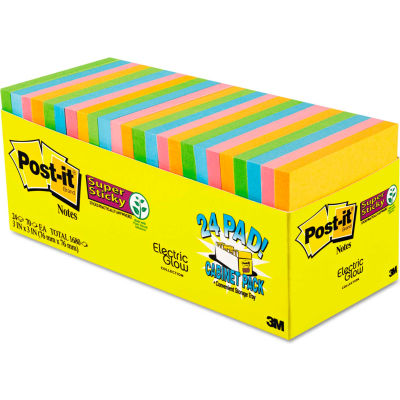 """Post-it® Super Sticky Note Pads 65424SSANCP, 3"""" x 3"""", Electric Glow, 70 Sheets, 24/Pack"""