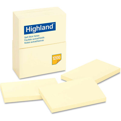 "Highland™Self-Stick Pads 6559YW, 4"" x 6"", Yellow, 100 Sheets, 12/Pack"