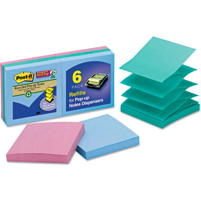 """Post-it® Super Sticky Pop-Up Notes R3306SST, 3"""" x 3"""", Tropic Breeze, 90 Sheets, 6/Pack"""